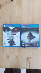 Shadow of Mordor and Killzone Shadow fall for PS4