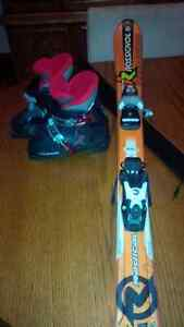 Kids skis boots and bindings