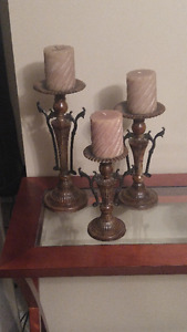onyx candlesticks (3) and acrylic & metal candlesticks (3)