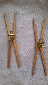 MCM Teak and Brass Candle Wall Sconces