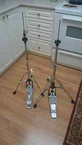 Two hi hat stands, 1980's Tama direct drive kick pedal & more