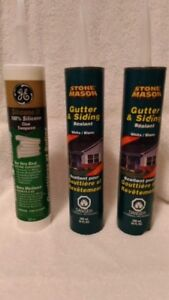 Caulking GE Silicone clear and Stone Mason white Gutter Siding