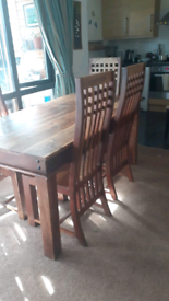 Solid wood dining table with 5 beautiful chairs
