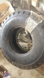 front tire of backhoe