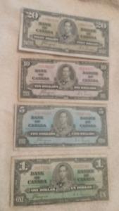 SET OF 1937 BANK NOTES 20 10 50 1 BILL