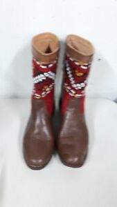 New, hand made moroccan kilim leather boots, size 7.5
