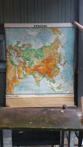 1960s school pull down Eurasia map