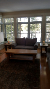 Coffee table and two end tables.