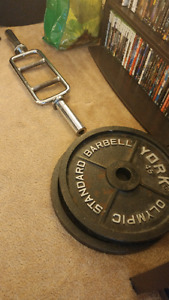 Tricep bar and set of 45 plates olympic weight