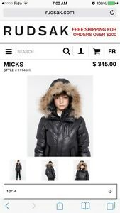Rudsak winter jacket $160