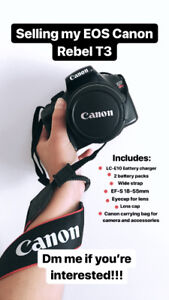 Canon Rebel T3 with bag and accessories