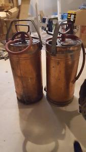 Antique Copper fire extinguishers