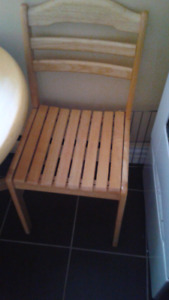 Tan wood table and two chairs like new