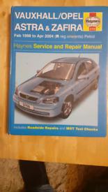 Haynes Manual Vauxhall Astra & Zafira 1998-2004.
