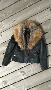 Faux Leather Girl's Biker Jacket Fall/Spring Size 9-10 years