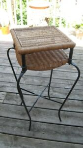 wicker and iron plant stand