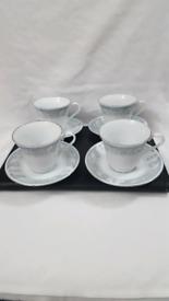 VINTAGE TRISA PORCELAIN(DIANA)FLORAL CUPS & SAUCERS.