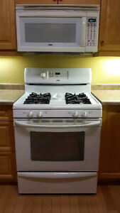 gas range, OTR microwave & dishwasher