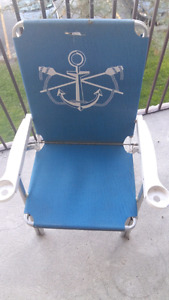 Two Anchor Paddle Blue Lawn Chairs With Cup Holders