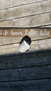 Life happens coffee  helps -Wooden decor sign