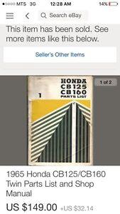 1964 Honda CB 125 CB 160 Parts List Regina Regina Area image 5