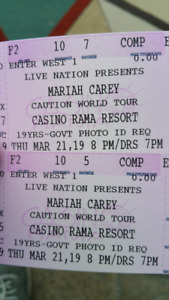 4 FLOOR TICKETS FOR MARIAH CAREY AT CASINO RAMA MARCH 21 8PM