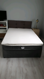 Double bed with mattress, mattress topper and headboard