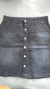 Denim high waist pencil skirt