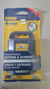 NEW Irwin 4-Point 2X Blades 50 Pack C/W Contractor Tool/Holster