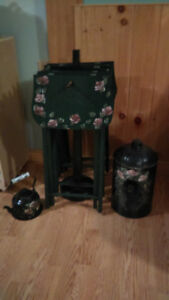 Decorative 4 folding tables with stand, milk can and a kettle