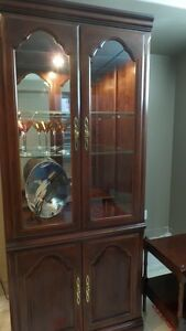 Antique European Lighted China Cabinet