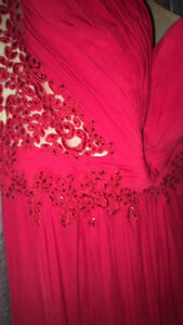 Red defined prom dress