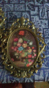 Antique flowered brass framed picture s