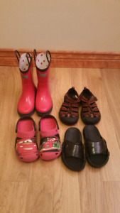 Lot boys size 12 & 13 keen and cros sandals shoes and rain boots