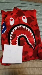 Bape Red Full Camo Shark Hoodie Mens XXL