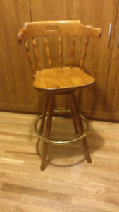 Classic Colonial Wood Swivel Bar Stool - Set of Four - Used