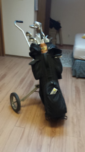 Used Right-Hand Men's Powerbilt Golf Set with Bag and Cart