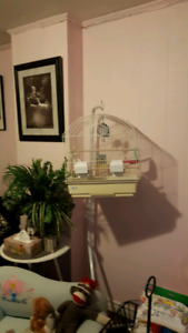 $30 White bird cage on stand with accessories