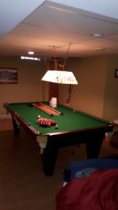 Solid oak and slate pool table - SOLD