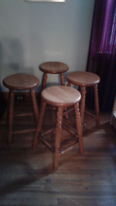 Four Solid Oak Stools