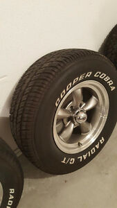 almost new cooper cobra tires, old school white letters