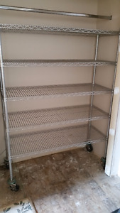 Large Kitchen Grade Stainless Steel Shelving with Locking Wheels
