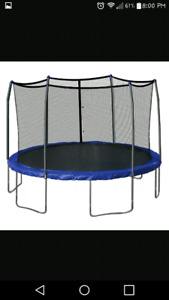 Trampoline and ping pong table