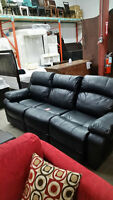 beautiful black leather style couch