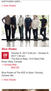 WANTED: Blue Rodeo Oct 8th tickets!