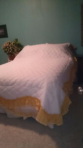 Lace bedspread and matching curtains