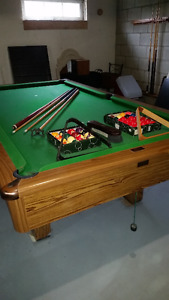Pool table, 8 foot with balls and accessories