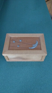 Solid Pine Jewelry Box With Embossed Moon & Stars