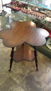 Antique 'Irish' Mahogany Parlor Table Clover Leaf Glass BallFeet