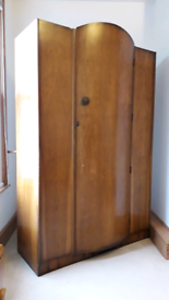 Vintage antique mid-century bow fronted 3 rail wardrobe
